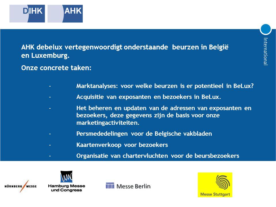 AHK debelux vertegenwoordigt onderstaande beurzen in België en Luxemburg.