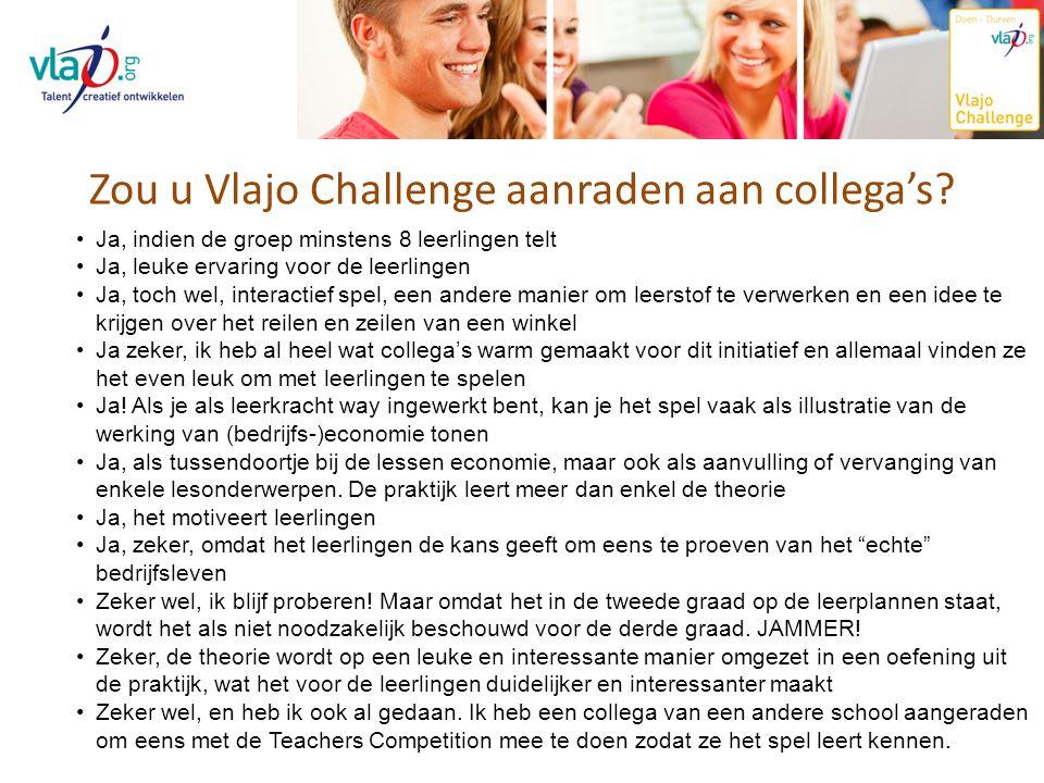 Zou u Vlajo Challenge aanraden aan collega's