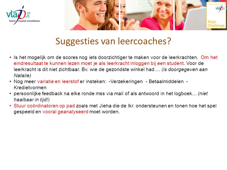 Suggesties van leercoaches