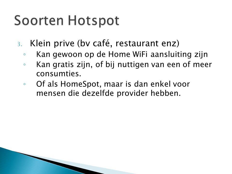 Soorten Hotspot Klein prive (bv café, restaurant enz)