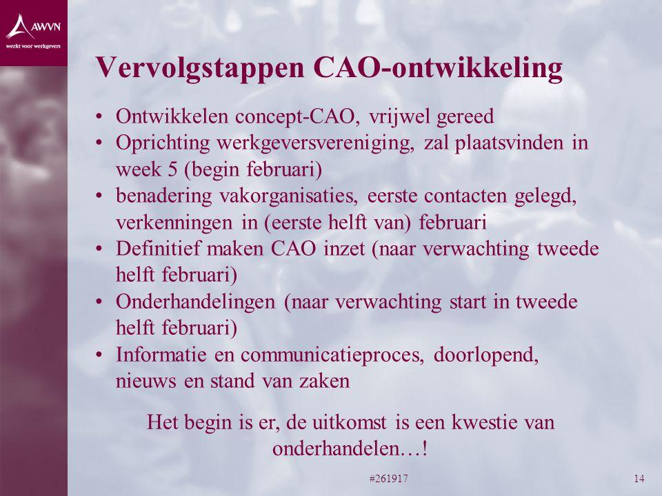 Vervolgstappen CAO-ontwikkeling