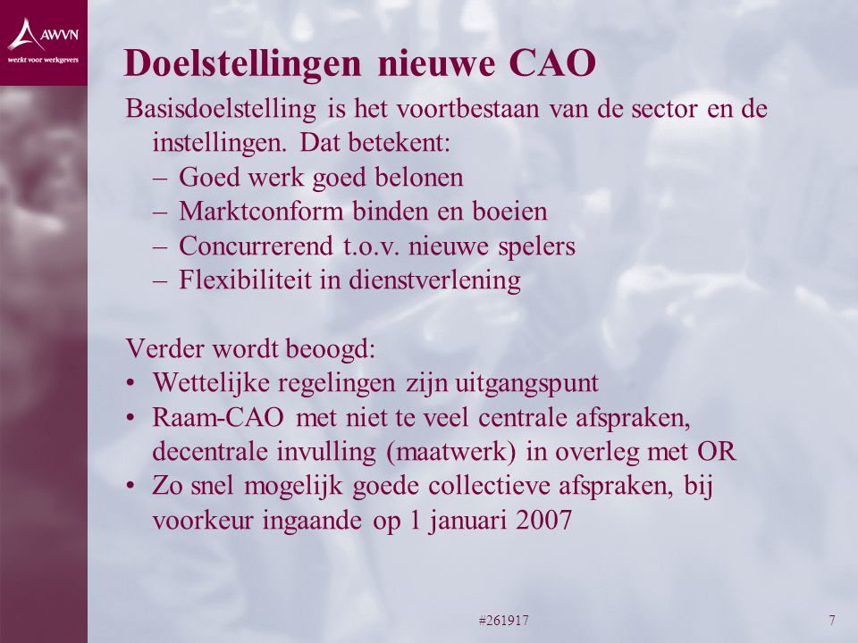 Doelstellingen nieuwe CAO