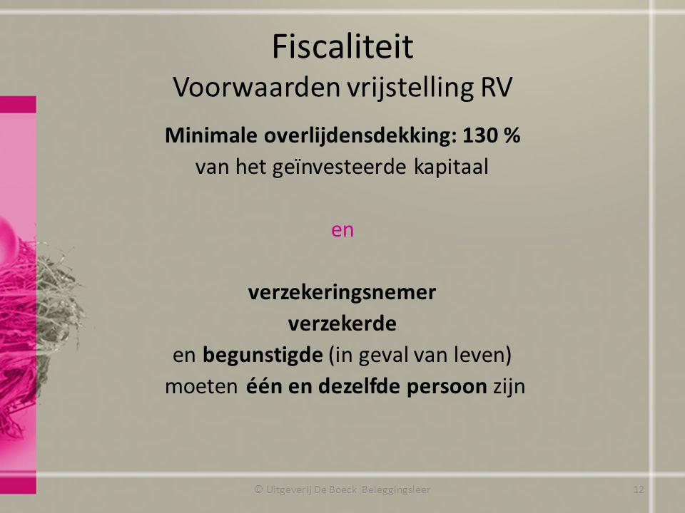 Fiscaliteit Voorwaarden vrijstelling RV