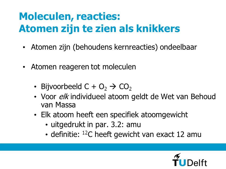 Moleculen, reacties: Atomen zijn te zien als knikkers