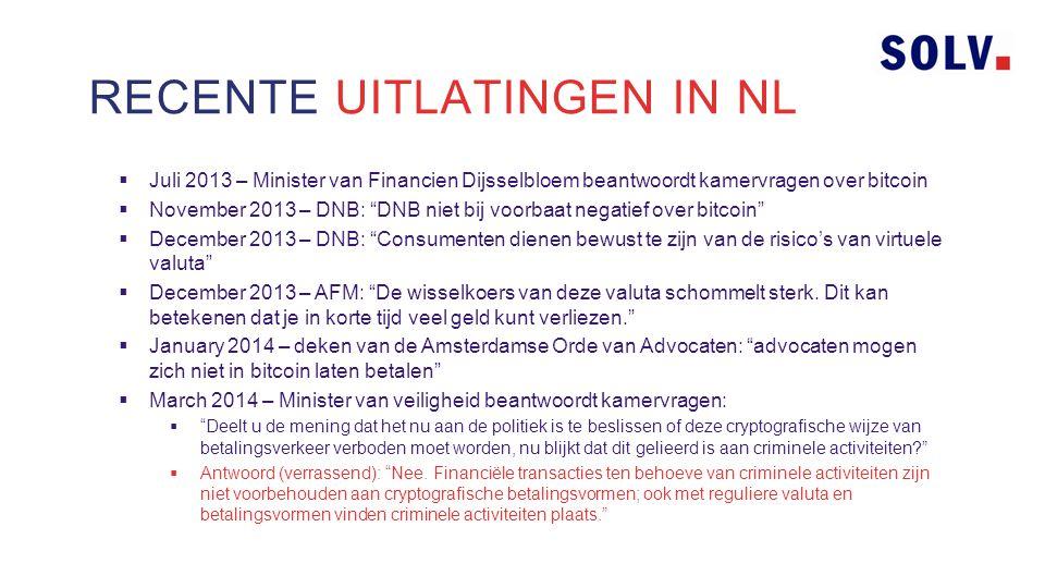 RECENTE UITLATINGEN IN NL