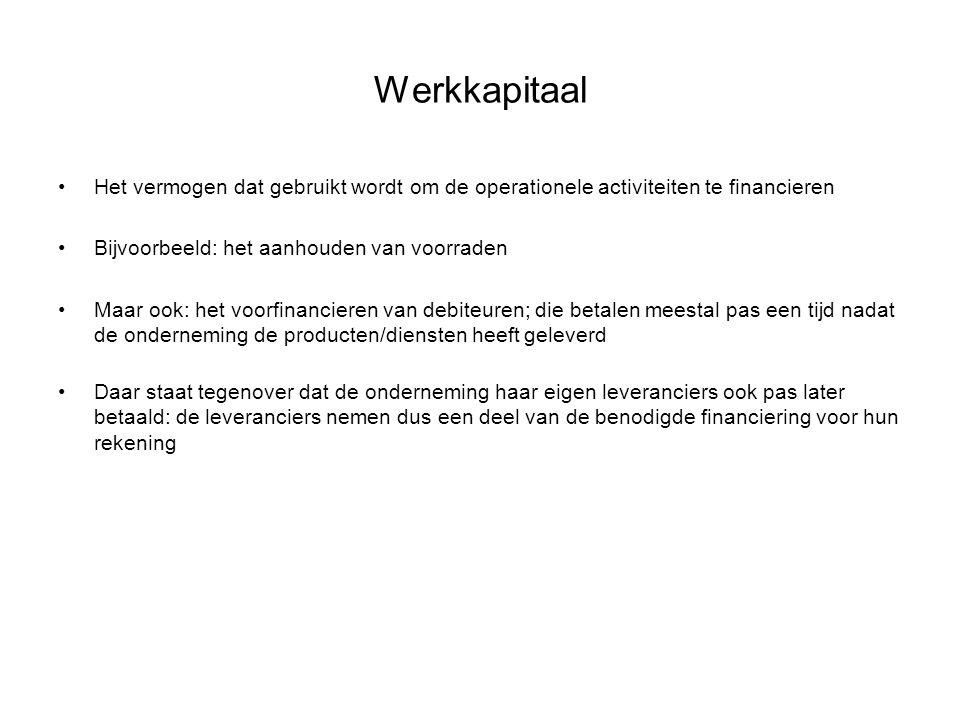 Werkkapitaal Het vermogen dat gebruikt wordt om de operationele activiteiten te financieren. Bijvoorbeeld: het aanhouden van voorraden.