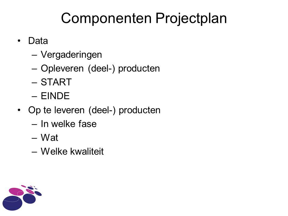 Componenten Projectplan