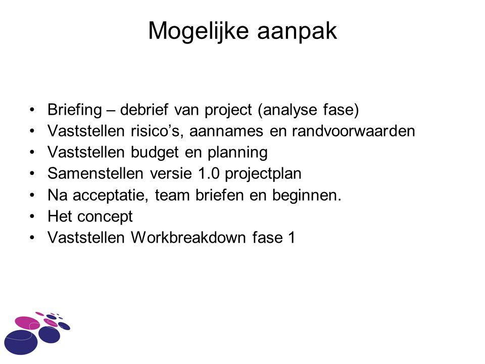 Mogelijke aanpak Briefing – debrief van project (analyse fase)