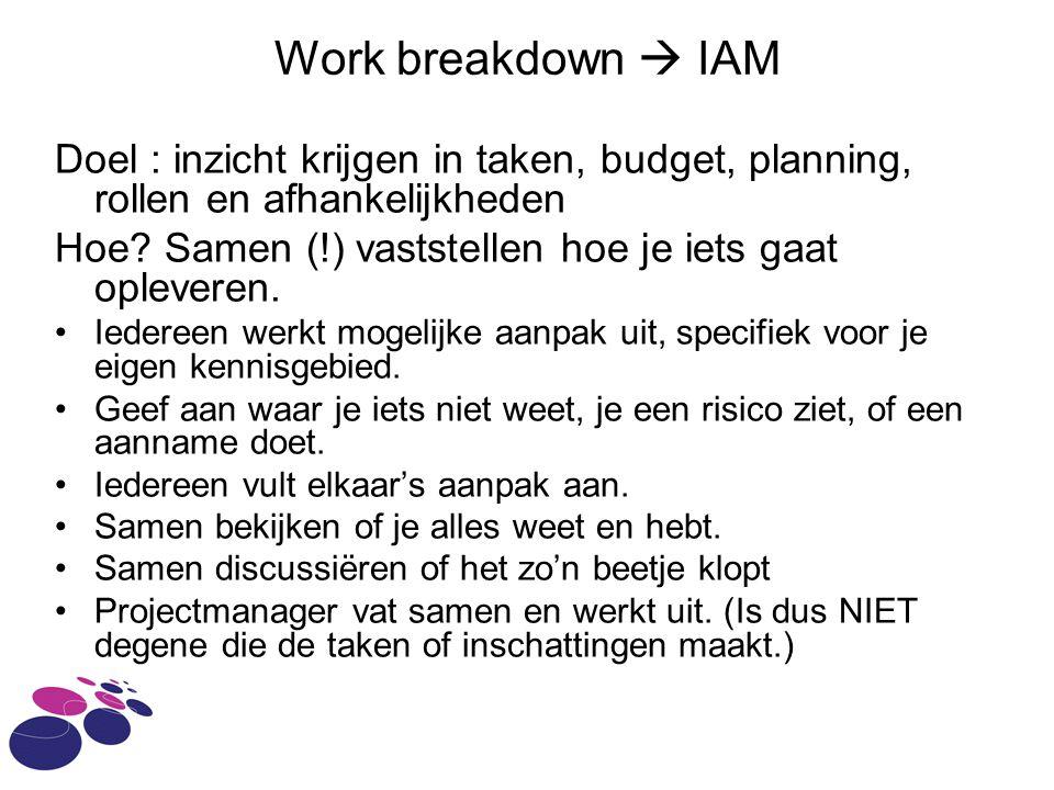 Work breakdown  IAM Doel : inzicht krijgen in taken, budget, planning, rollen en afhankelijkheden.