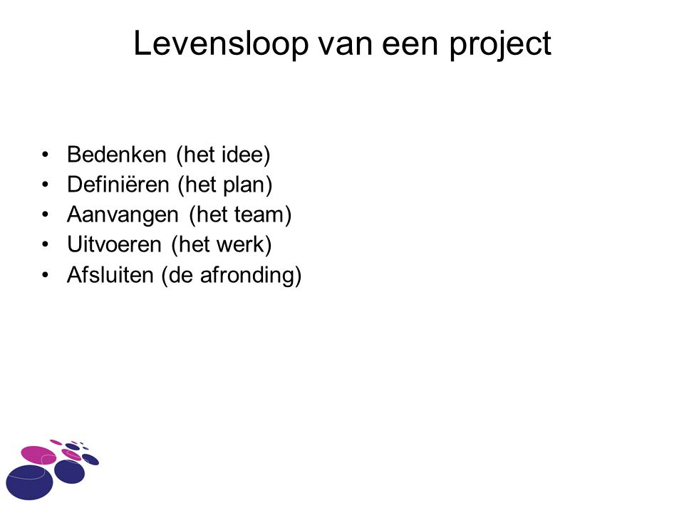 Levensloop van een project