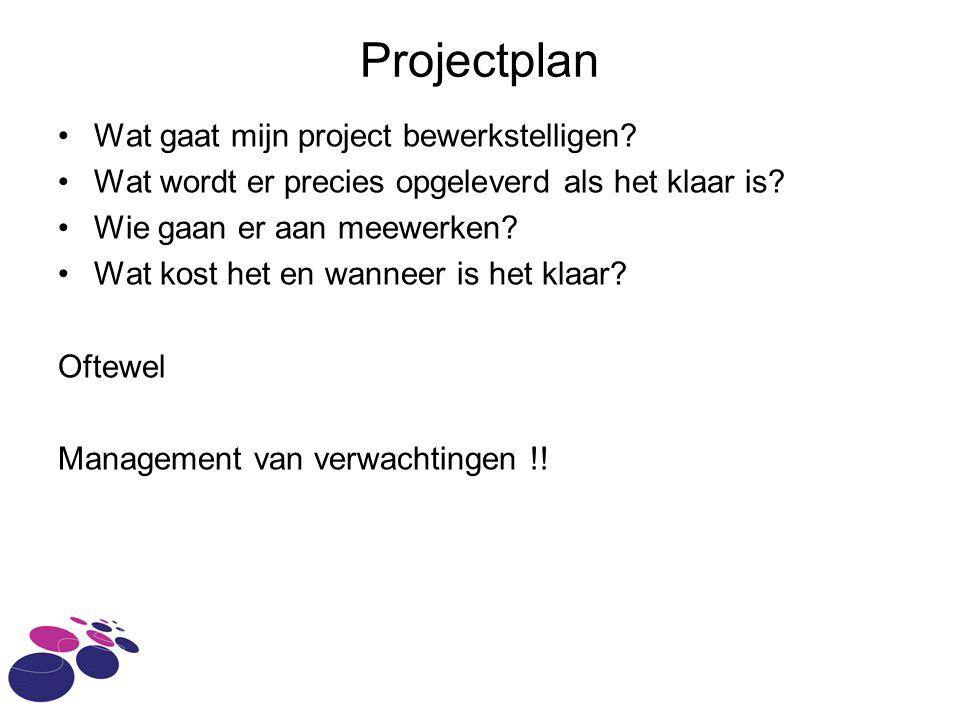 Projectplan Wat gaat mijn project bewerkstelligen
