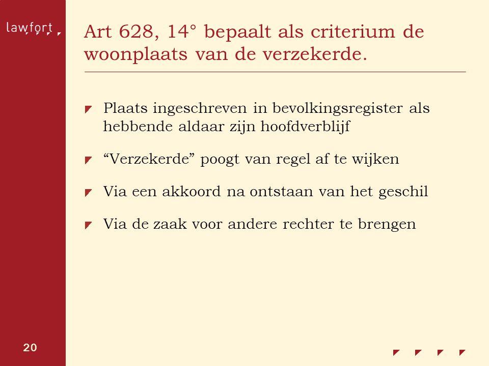 Art 628, 14° bepaalt als criterium de woonplaats van de verzekerde.