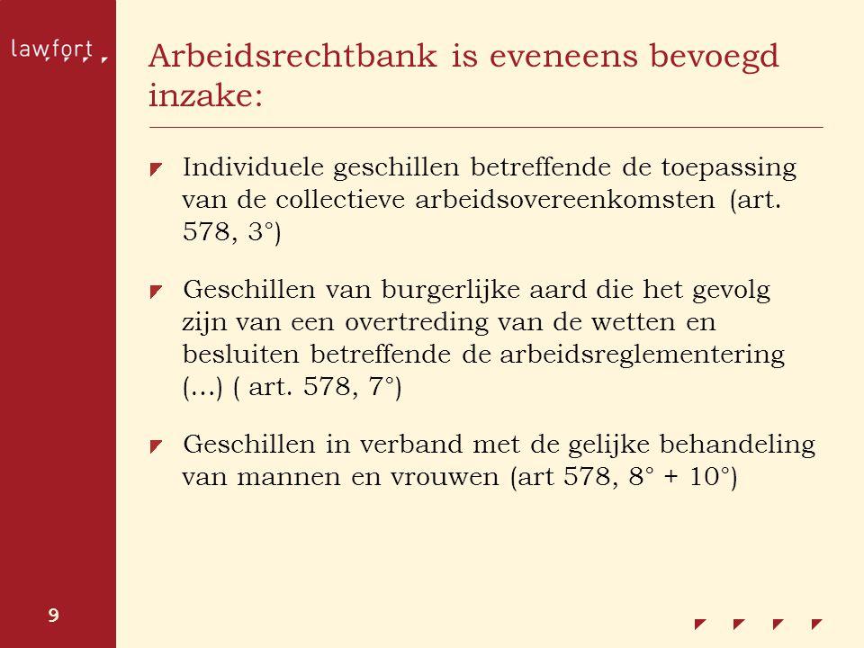 Arbeidsrechtbank is eveneens bevoegd inzake: