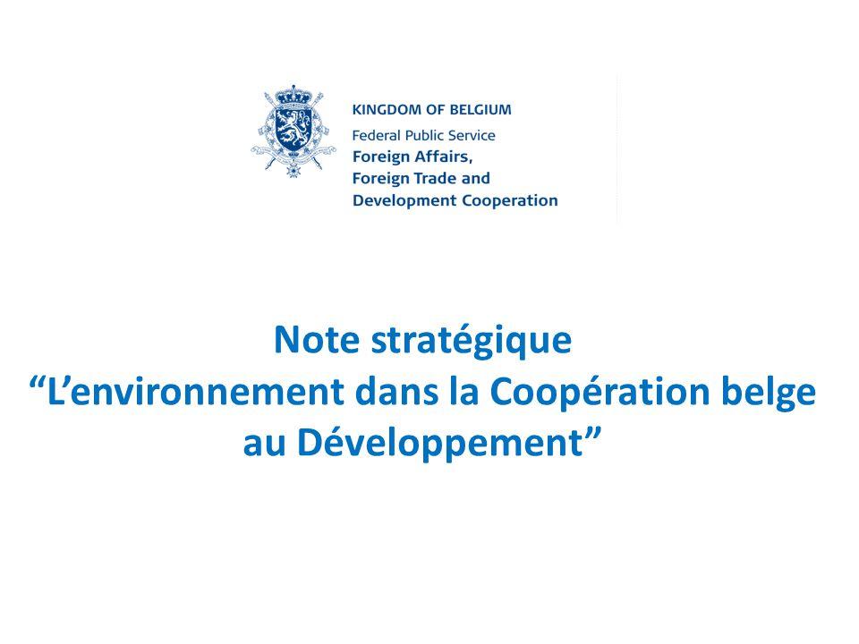 Note stratégique L'environnement dans la Coopération belge au Développement