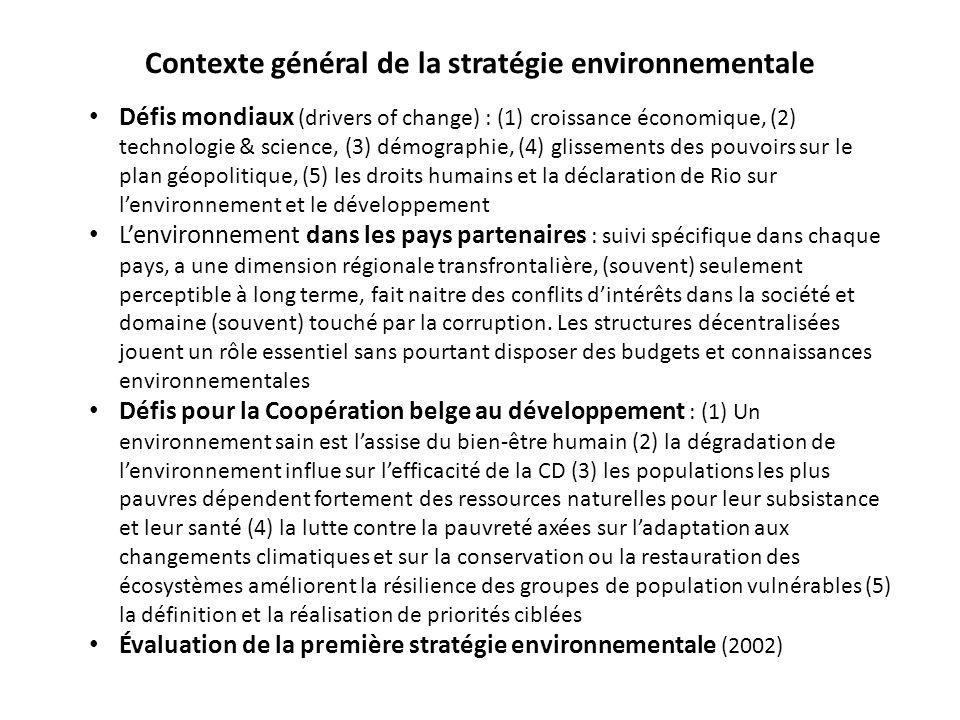 Contexte général de la stratégie environnementale