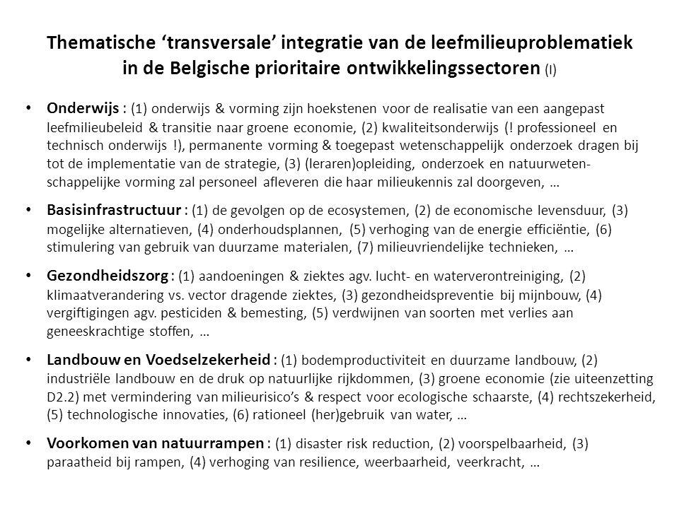Thematische 'transversale' integratie van de leefmilieuproblematiek in de Belgische prioritaire ontwikkelingssectoren (I)