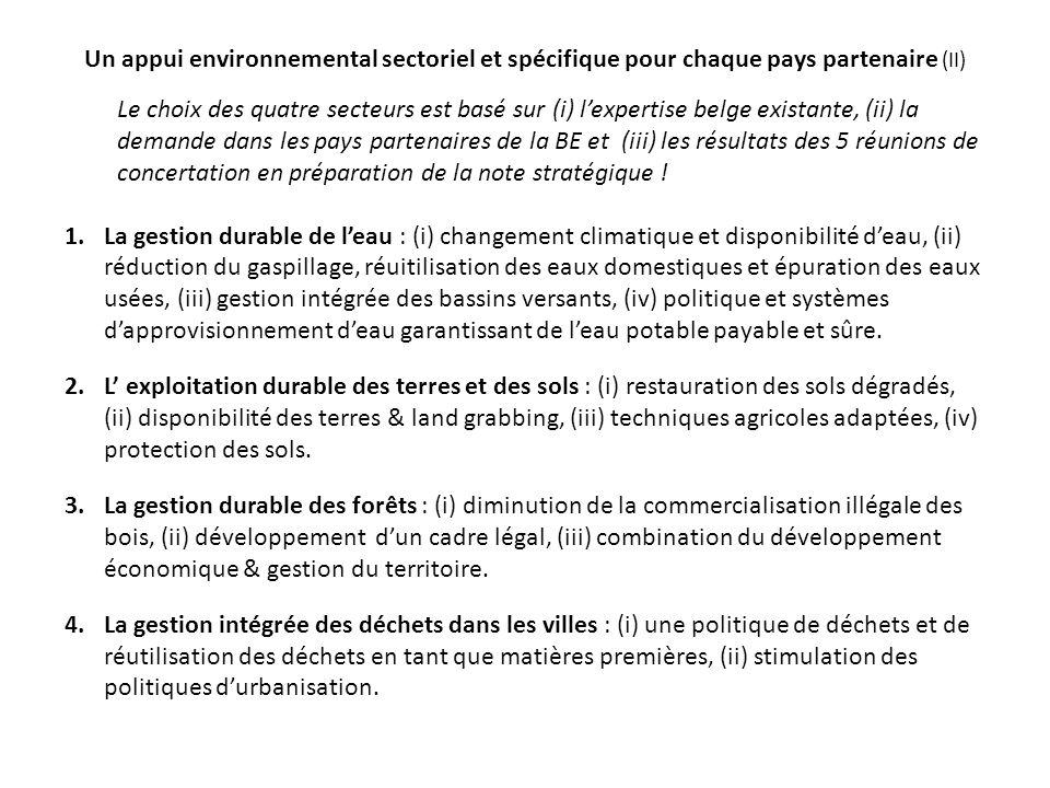 Un appui environnemental sectoriel et spécifique pour chaque pays partenaire (II)