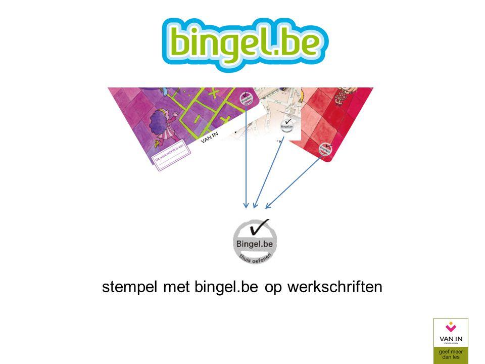 stempel met bingel.be op werkschriften