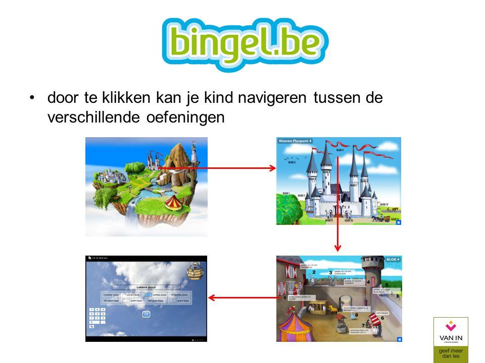 door te klikken kan je kind navigeren tussen de verschillende oefeningen