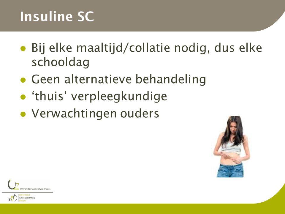 Insuline SC Bij elke maaltijd/collatie nodig, dus elke schooldag