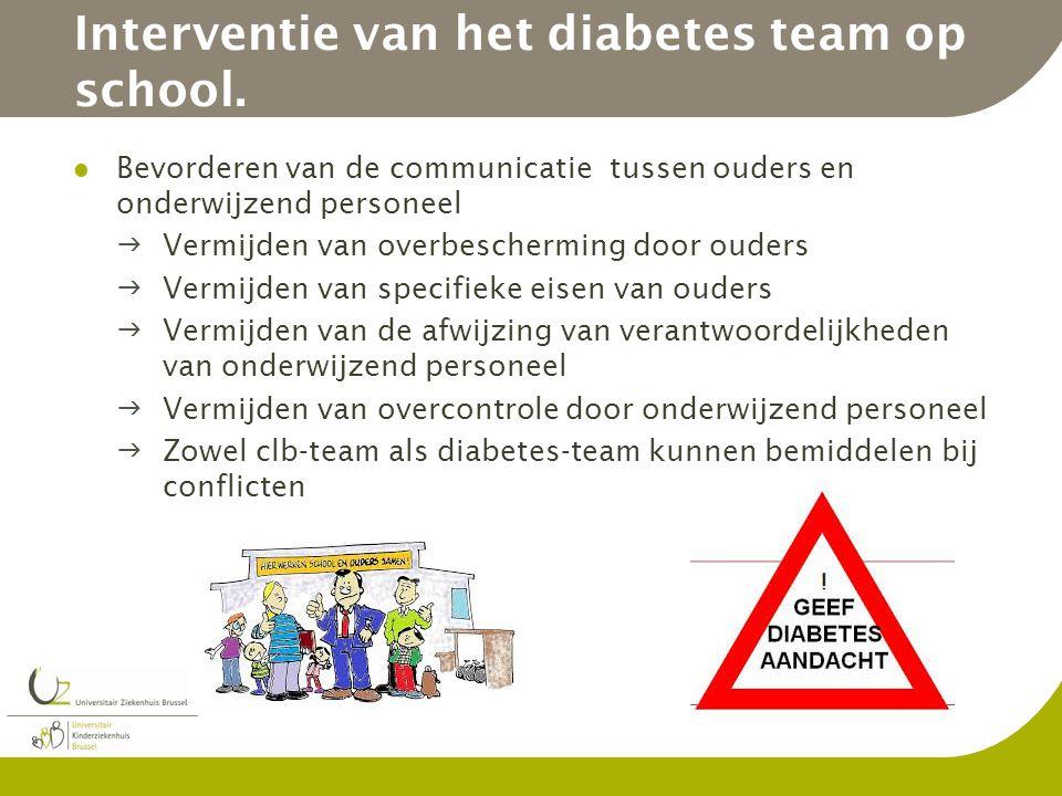 Interventie van het diabetes team op school.