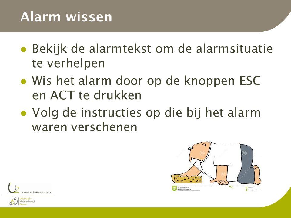Alarm wissen Bekijk de alarmtekst om de alarmsituatie te verhelpen