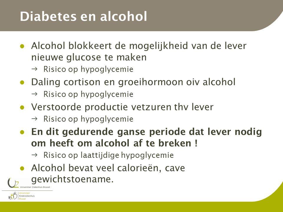 Diabetes en alcohol Alcohol blokkeert de mogelijkheid van de lever nieuwe glucose te maken. Risico op hypoglycemie.