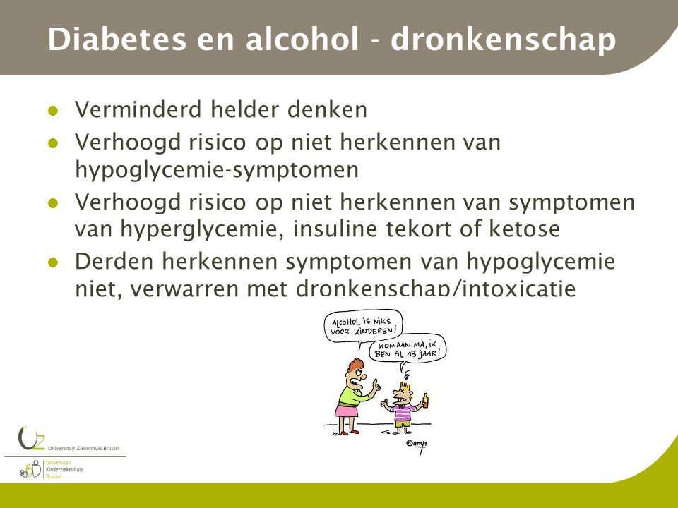 Diabetes en alcohol - dronkenschap
