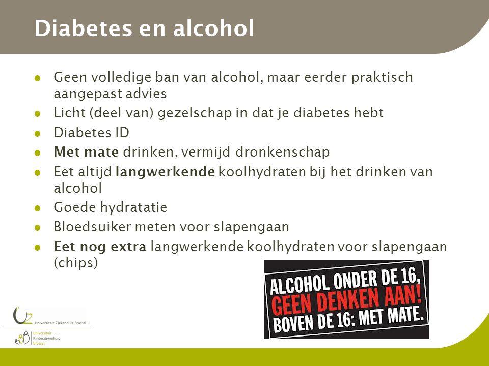 Diabetes en alcohol Geen volledige ban van alcohol, maar eerder praktisch aangepast advies. Licht (deel van) gezelschap in dat je diabetes hebt.