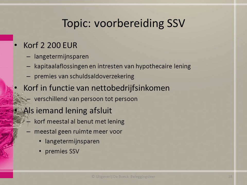 Topic: voorbereiding SSV