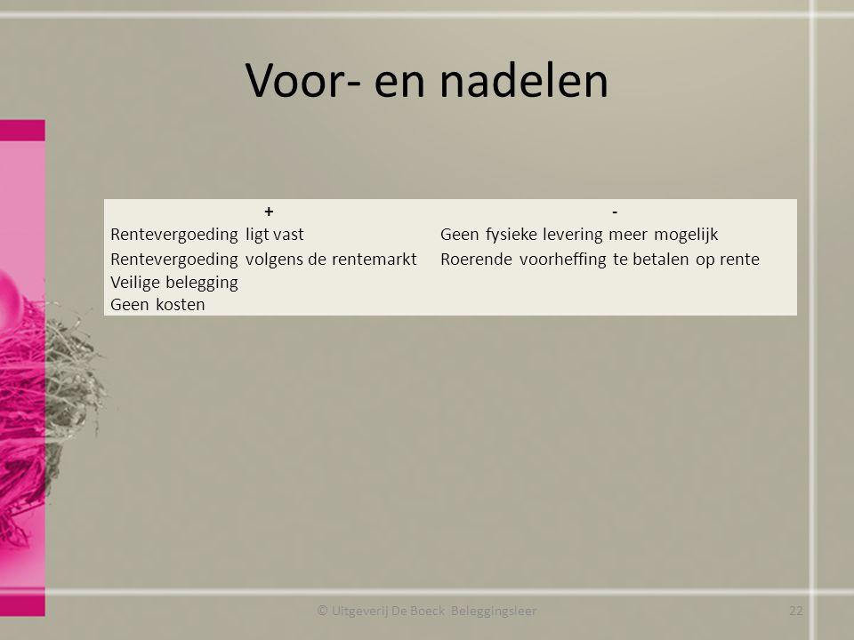 © Uitgeverij De Boeck Beleggingsleer