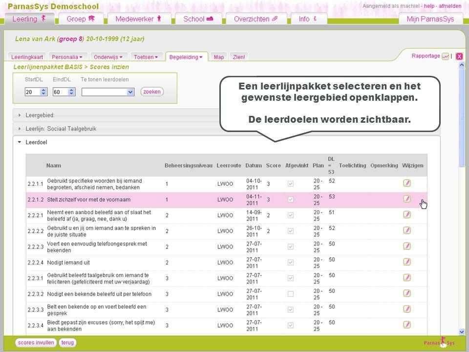 Een leerlijnpakket selecteren en het gewenste leergebied openklappen.