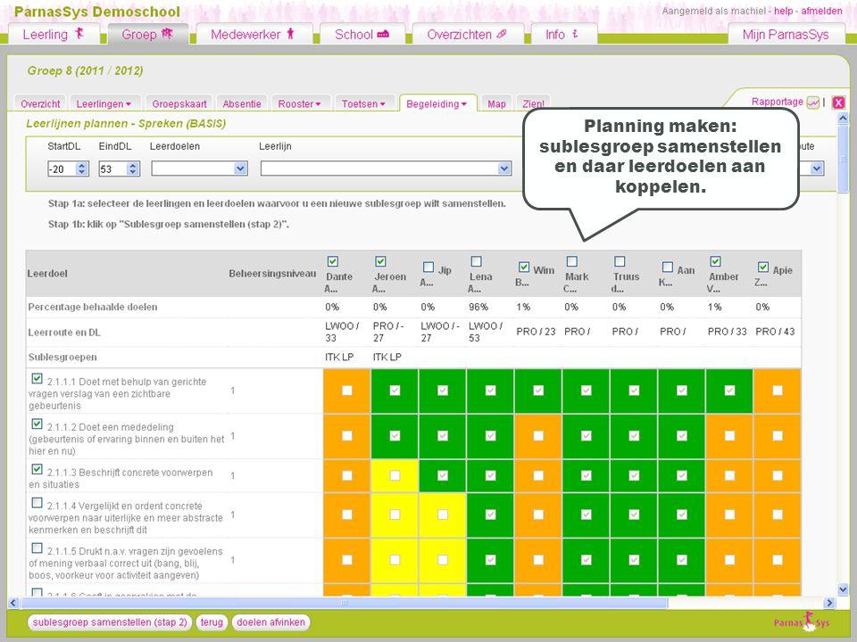 Planning maken: sublesgroep samenstellen en daar leerdoelen aan koppelen.