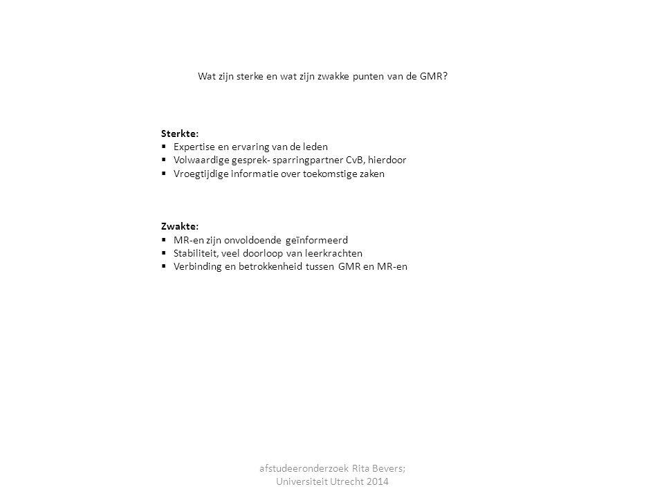 afstudeeronderzoek Rita Bevers; Universiteit Utrecht 2014