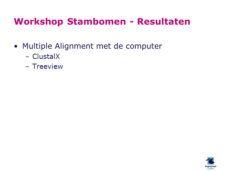 Workshop Stambomen - Resultaten