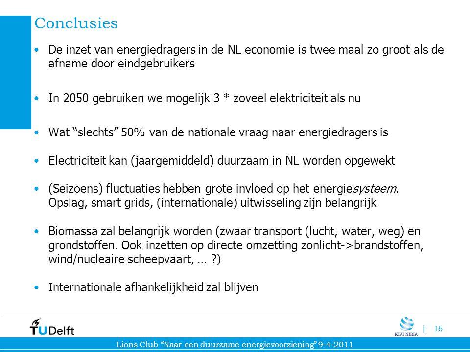 Conclusies De inzet van energiedragers in de NL economie is twee maal zo groot als de afname door eindgebruikers.