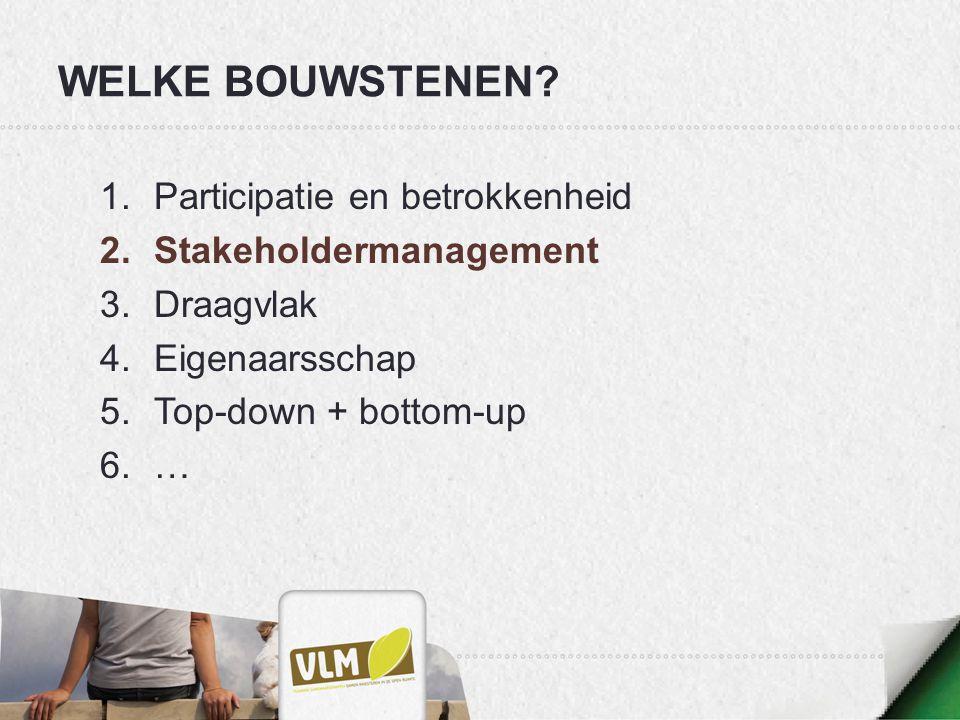 WELKE BOUWSTENEN Participatie en betrokkenheid Stakeholdermanagement
