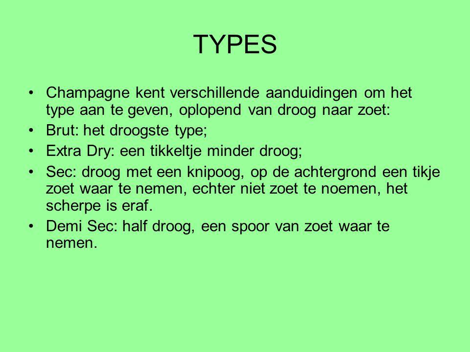 TYPES Champagne kent verschillende aanduidingen om het type aan te geven, oplopend van droog naar zoet: