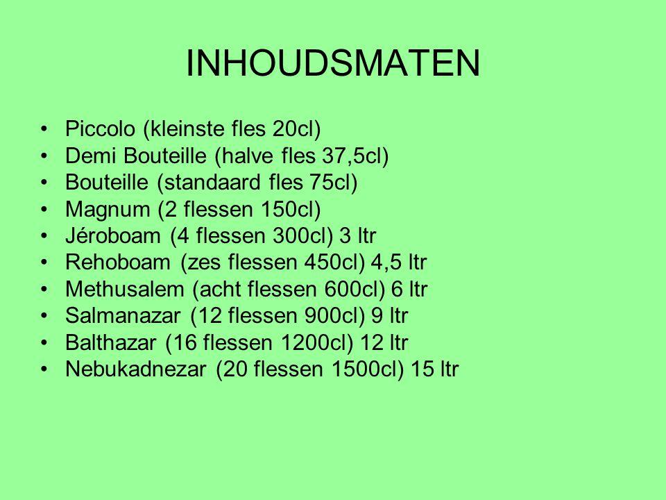 INHOUDSMATEN Piccolo (kleinste fles 20cl)