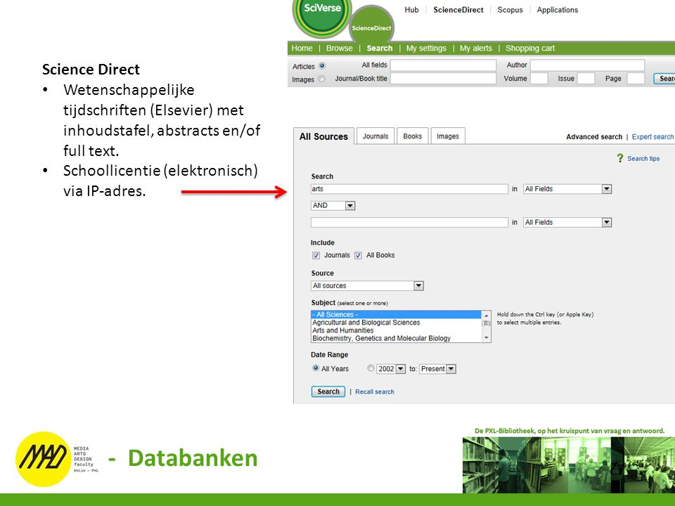- Databanken Science Direct