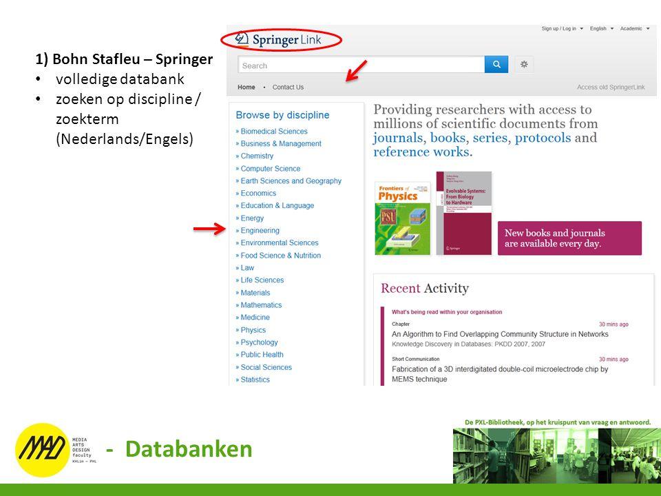 - Databanken 1) Bohn Stafleu – Springer volledige databank