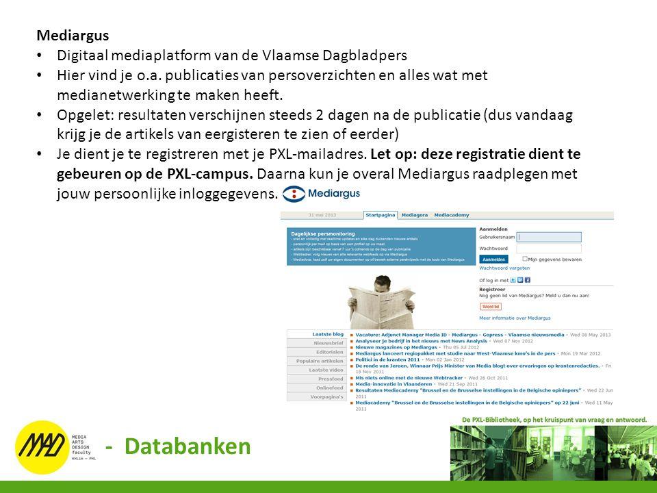 - Databanken Mediargus