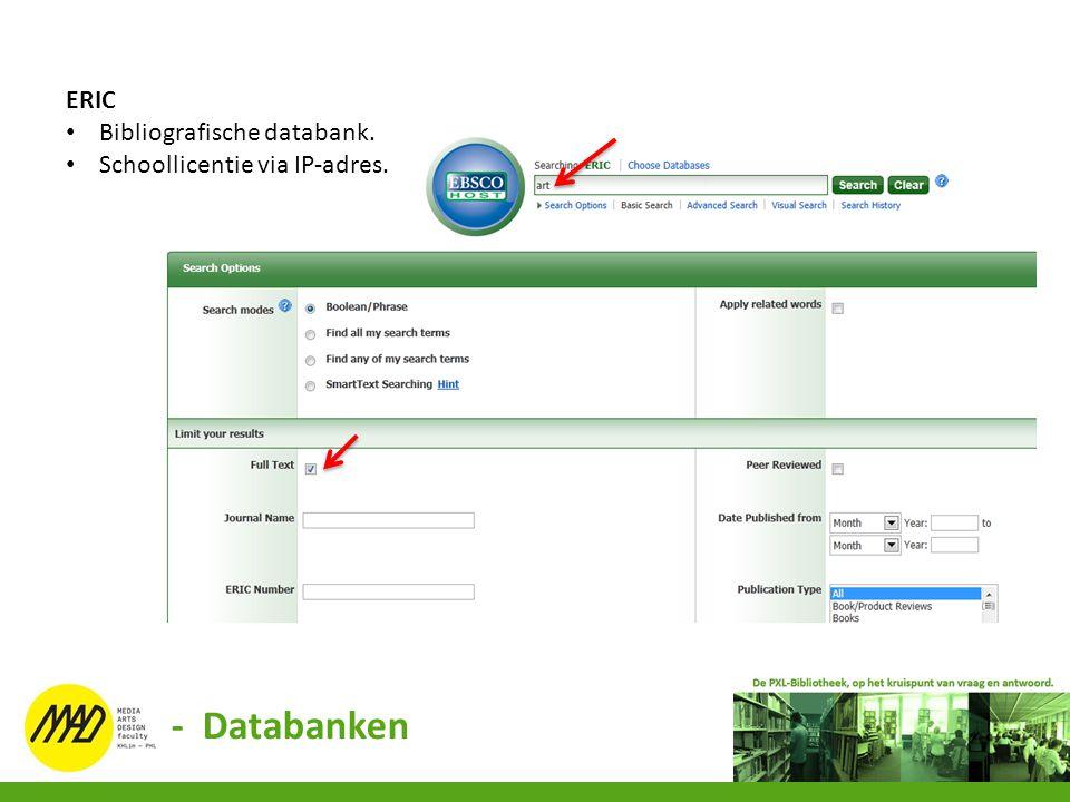 - Databanken ERIC Bibliografische databank.