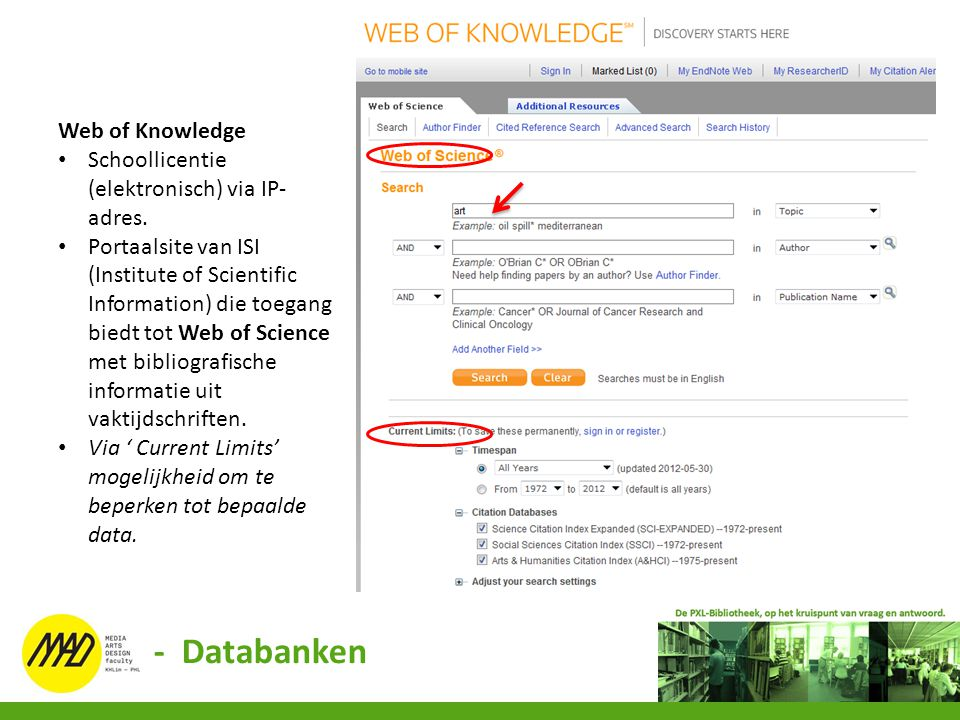 - Databanken Web of Knowledge