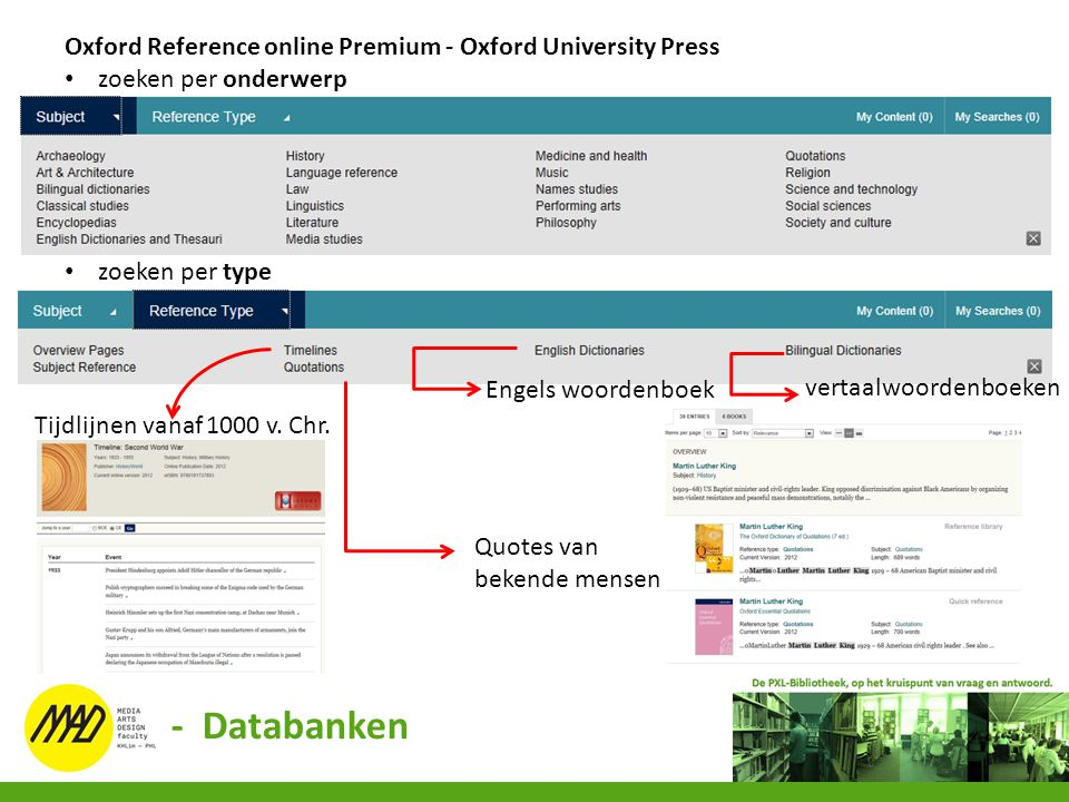 - Databanken Oxford Reference online Premium - Oxford University Press