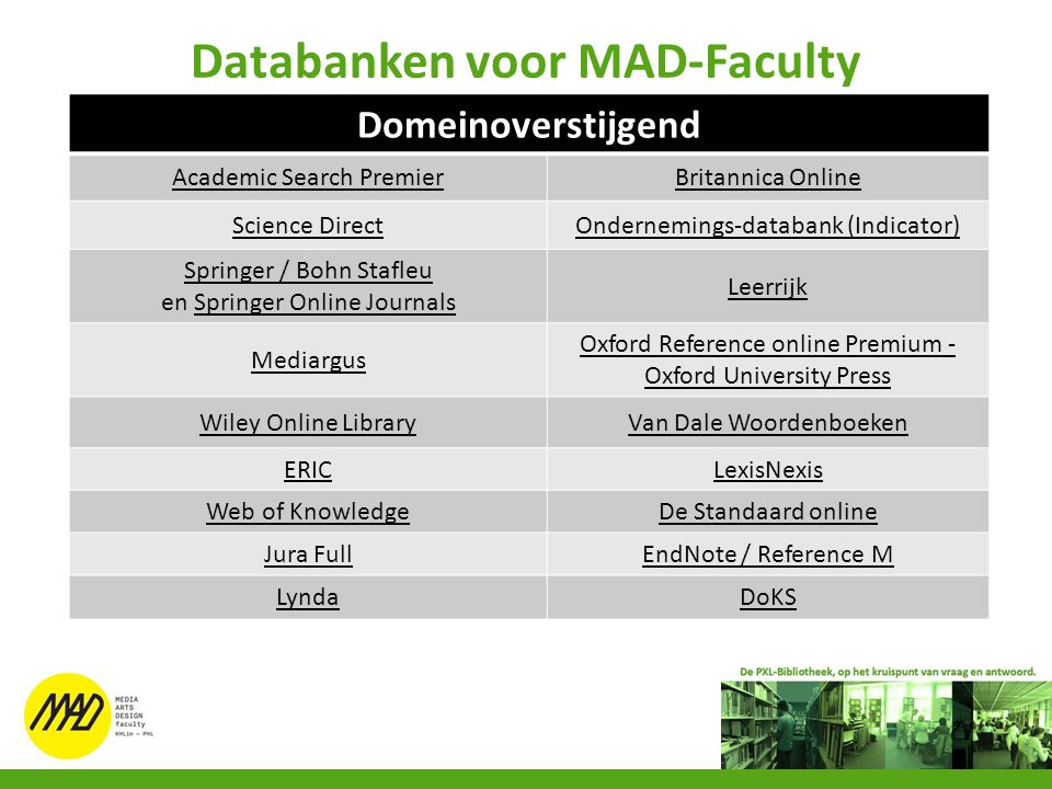 Databanken voor MAD-Faculty