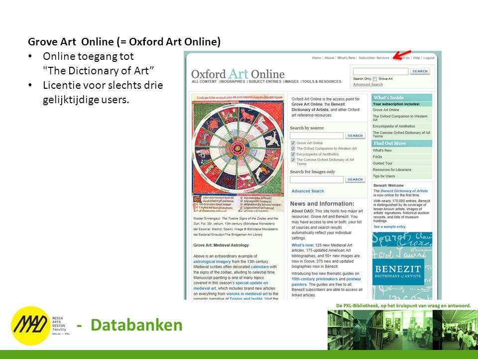 - Databanken Grove Art Online (= Oxford Art Online)