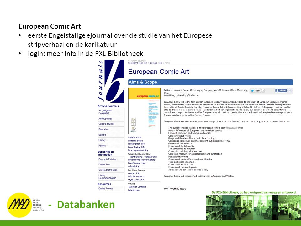 - Databanken European Comic Art