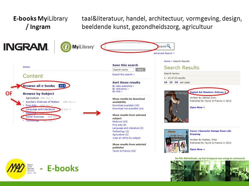 E-books MyiLibrary taal&literatuur, handel, architectuur, vormgeving, design,