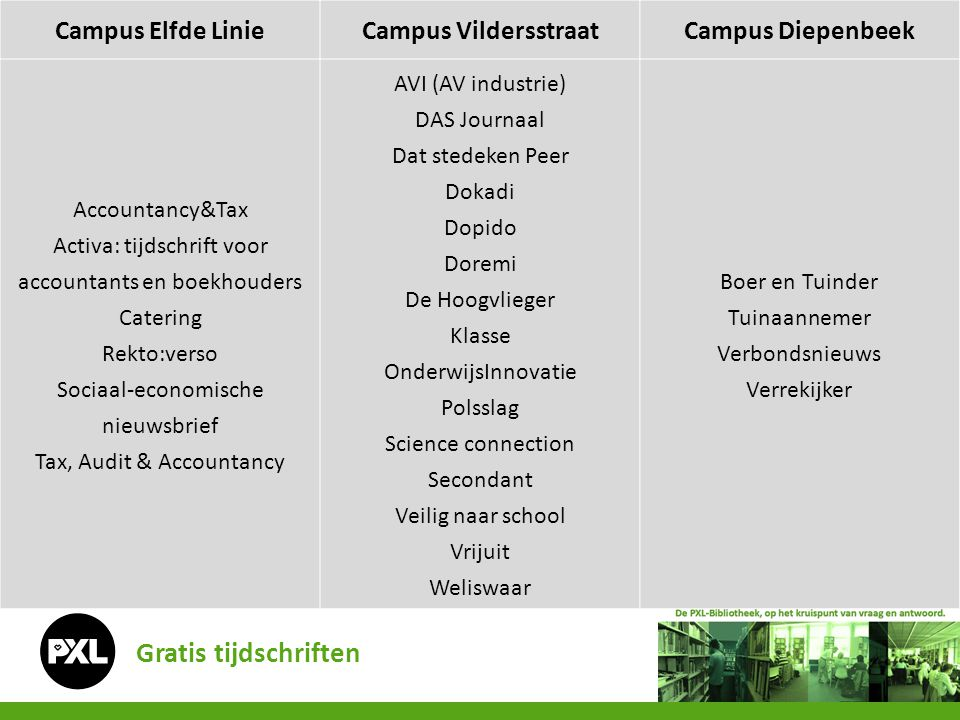 Gratis tijdschriften Campus Elfde Linie Campus Vildersstraat